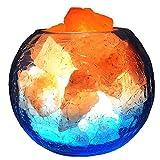 YRL Himalaya Salz Stein-Lampe, Kristalldekoration natürliche Kristall-Salz-Lampe Negativ-Ionendimmen natürlichen hölzernen Boden Crack Glasschüssel Schlafzimmer-Dekorationslampe