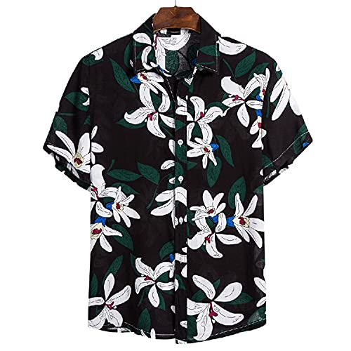 Shirt Playa Hombre Estampado Moda Vintage Ajuste Transpirable Hombre Hirt Cuello Kent Tapeta con Botones T-Shirt Moderna Manga Corta Vacaciones Viajes Hawaii Hombre Shirt Ocio CS113 XL