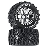 Duratrax Hatchet MT 2.8' 1/10 RC Monster Truck Tires with Foam Inserts: C2 Soft | Mounted on 6-Spoke Front/Rear Wheels | Chrome, 1/2' Offset (Set of 2)