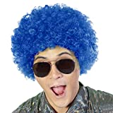 Fluffy Afro Synthetic Clown Wig for Men Women Cosplay Anime Party Christmas Halloween Fancy Funny Wigs (Blue)