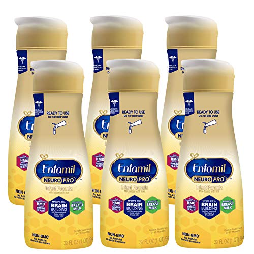 Enfamil NeuroPro Ready to Feed Baby Formula Milk, 32 Fluid Ounce - MFGM, Omega 3 DHA, Probiotics, Iron & Immune Support, Pack of 6 (Package May Vary)