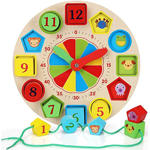 Enkomy Reloj de Aprendizaje para niños, Forma de Madera y clasificación de Colores Reloj de Aprendizaje Juguete Educativo para niños