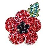 U-K Rhinestone Rojo Poppy Flower Broche Pin Insignia Trajes Chaqueta Bufanda Accesorios para Hombres Mujeres Niña Niño, Color Dorado Elegante Agradable y Atractivo