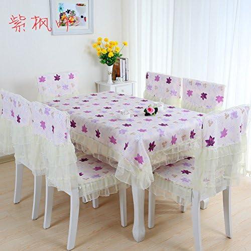 BlauLSS Sch  13 pcs Tischdecke Stuhlhussen Größe 150  200cm   Tischdecke auf dem Tisch, Hochzeit Tischdecken Stuhl Bodenmatte, 8 Feng ye Lila
