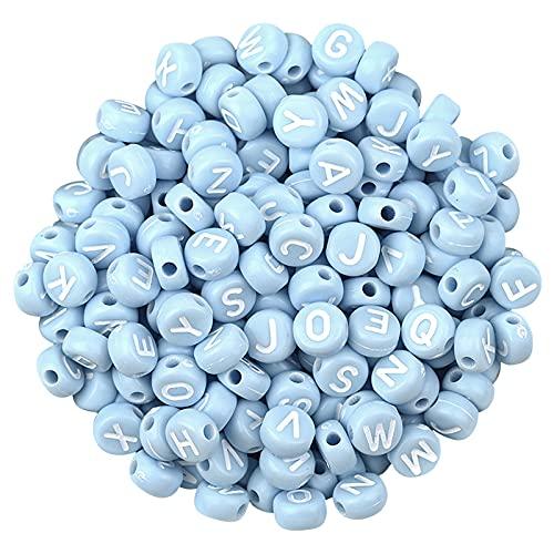 WENDAO 100 unidades de perlas de enhebrado con letras de la A a la Z para manualidades, joyas y manualidades de perlas coloridas en 3D para pulseras, joyas y manualidades