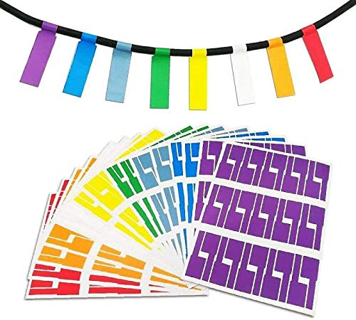 Krastmon 8 Sheet Self Adhesive Cable Labels Waterproof Assorted Color Tear Resistant Label Stickers for Office Work School Computer Cord Laser Printer (240 Labels)