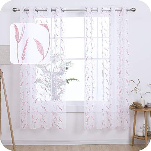 UMI. by Amazon Cortinas Translucidas Decorativas con Motivos Espiga de Trigo con Ojales 2 Piezas 140x175cm Rosa