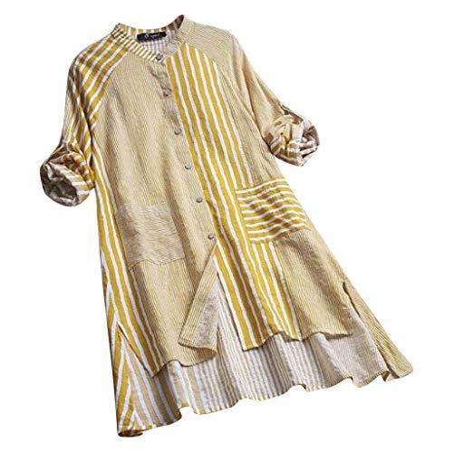 LOPILY Basic Leinen Kleid Große Größen Damen Gestreiftes Blusenkleid Stehkragen Shirtkleid Langarm Herbst Kleid Lose Lässiges Sommerkleid Freizeit Strandkleid mit Taschen bis Gr.54 (Gelb, Gr.54)