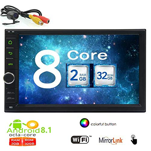 Sauvegarde Canera inclus Android 8.1 Bluetooth Car Stereo Navigation GPS Double Autoradio Din Dash radio FM / AM 2 Unit¨¦ Din t¨ºte feux de boutons color¨¦s prennent en charge WiFi MirrorLink OBD2 1
