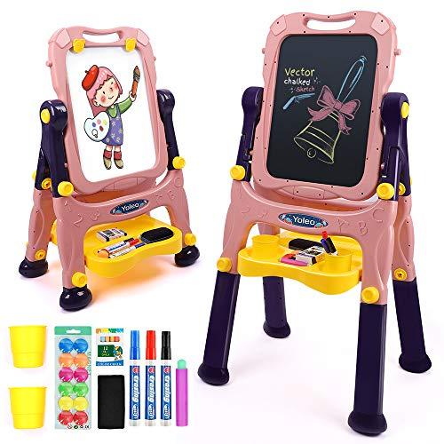 YOLEO Caballete para Niños Ajustable 3 in 1, Caballete de Arte de Doble Cara con Pizarra Magnética para Dibujo en Niños Pequeños, Altura Ajustable Giratoria de 360° (Rosa)