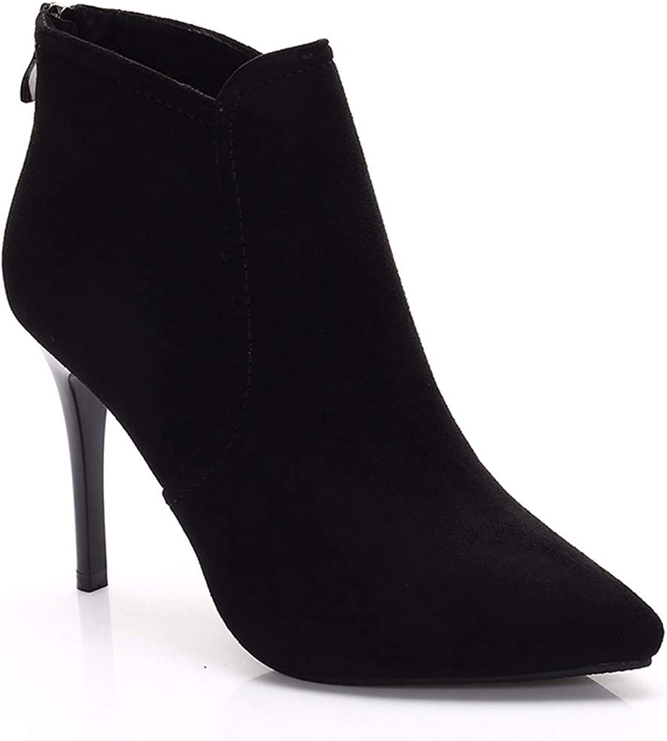 SFSYDDY Popular shoes Fine Heel Short Boots with High 10Cm Suede Simple Temperament Sharp Pointed Martin Boots Bare Boots.