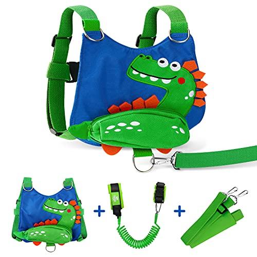 Lehoo Castle Arnes Correa Bebe,4 en 1 Arnes Seguridad Bebe, Cinturon Antiperdida Niños, Arnés de Seguridad para Caminar Niños(dinosaurio)