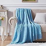 NexHome Throw Blanket Blue Decorative Knit Blanket with Tassel Soft Lightweight Zigzag Textured Boho Throws (50'x60' Sea Blue)