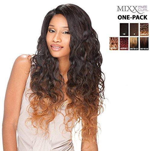 [4 mèches Pack complet + Closure] sensationnel mural Bundle Mixx – Style péruvien – Human Hair Blend Weave (One Pack Complete)