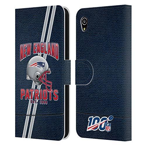 Head Hülle Designs Offiziell Zugelassen NFL Football Streifen 100ste New England Patriots Logo Art Leder Brieftaschen Handyhülle Hülle Huelle kompatibel mit Sony Xperia M4 Aqua
