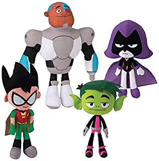 "Teen Titans Go! 10"" Plush Figure 4 Piece Set - Includes Robin, Beast Boy, Cyborg, and Raven"