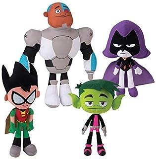 "Teen Titans Go! 10"" Plush Figure 4 Piece Set - Includes Robin, Beast Boy, Cyborg, and Raven"