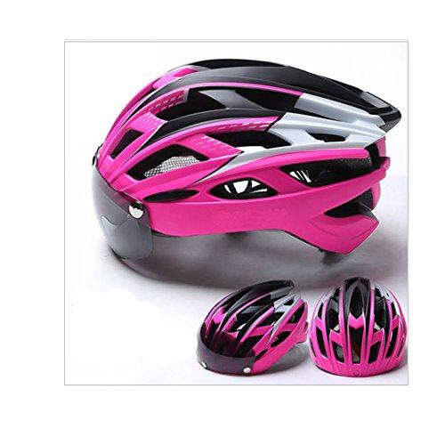MISHUAI fietshelm, fietshelm, 27 gaten, hoofdbescherming, keuze uit 8 kleuren (kleur: roze)