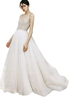 WANGCY Wedding Dresses Deep Lace Wedding Bridal Gown Women Vintage Wedding Dress Elegant Dress Lace Wedding Dress