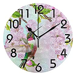 Dozili Multicolor Round Wall Clock Arabic Numerals Design Non Ticking Wall Clock Large for Bedrooms,Living Room,Bathroom