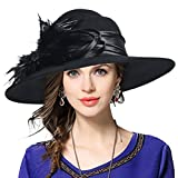 VECRY Ladies 100% Wool Felt Feather Cocktail British Formal Party Hat (Black)
