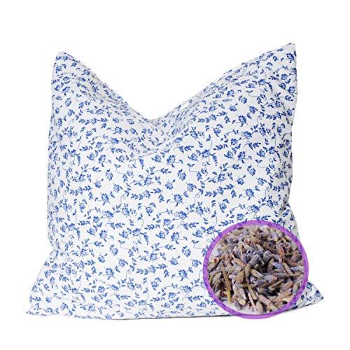 SHD Lavendelblüten Lavendelkissen zum Schlafen Erwachsene und Kinder gefüllt mit Lavendel getrocknet Dekokissen Bio Kissen duftend 30x30 cm Vintage Baumwollbezug Geschenk Frauen