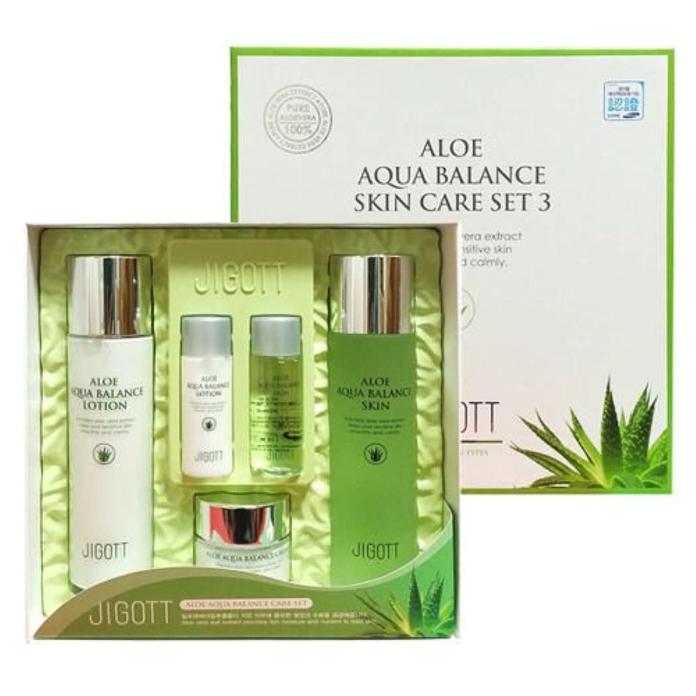 引退する体現する圧力ジゴトゥ[韓国コスメJigott]Aloe Aqua Balance Skin Care 3 Set アロエアクアバランススキンケア3セット樹液,乳液,クリーム [並行輸入品]