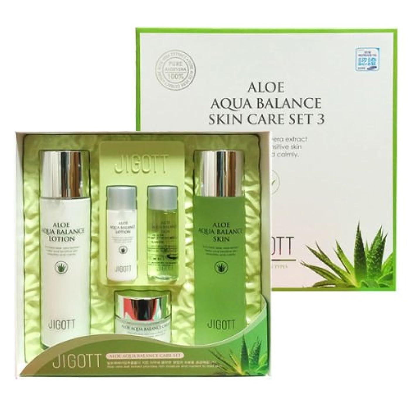 逃す鰐徹底ジゴトゥ[韓国コスメJigott]Aloe Aqua Balance Skin Care 3 Set アロエアクアバランススキンケア3セット樹液,乳液,クリーム [並行輸入品]