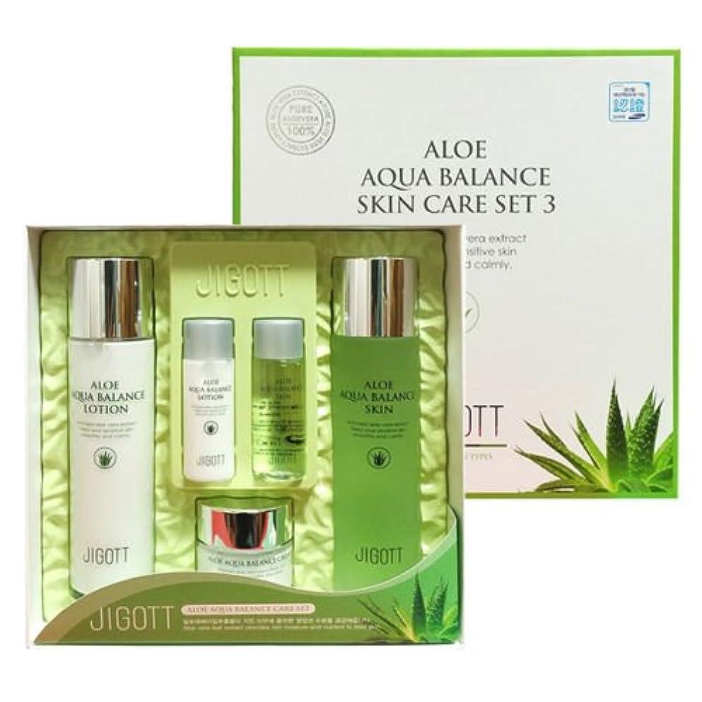 ベーコン顧問置くためにパックジゴトゥ[韓国コスメJigott]Aloe Aqua Balance Skin Care 3 Set アロエアクアバランススキンケア3セット樹液,乳液,クリーム [並行輸入品]