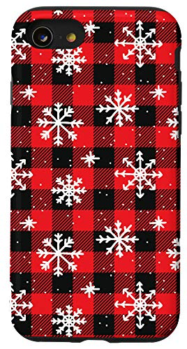 iPhone SE (2020) / 7 / 8 Snowflakes on Red and Black pattern - Winter Christmas Case