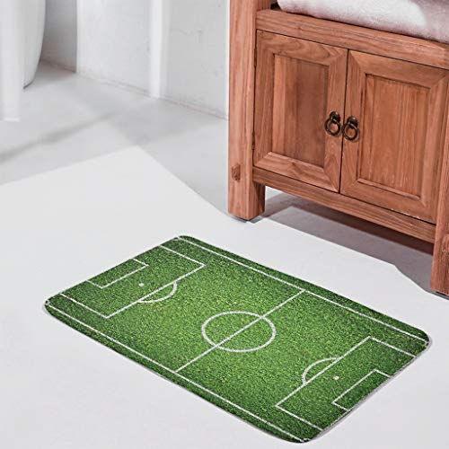CATNEZA Welcome Mat Football Pitch Rectangular Doormat Non-Slip Design Entrance Area Ornament Holiday Use Sport for Home Decor White 45 x 75 cm