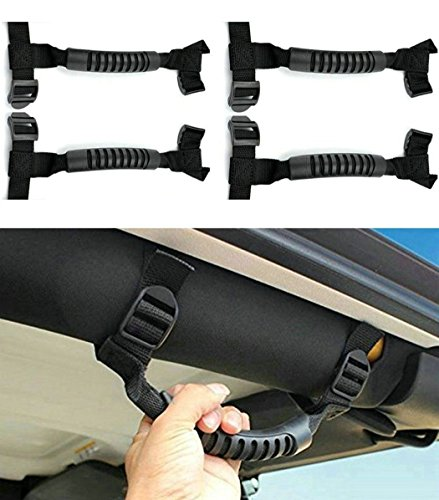 4 x Roll Bar Grab Handles Grip Handle for Jeep Wrangler YJ TJ JK JKU JL JLU Sports Sahara Freedom Rubicon X & Unlimited 1955-2020 (Roll Bar Black)