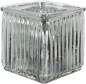 Lotuss 10cm Glass Cube Vase Silver Splatter Effect Small Square Glass Flower Vase