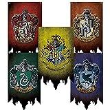 Lot de 5 drapeaux Harry Potter - Collection Poudlard Gryffondor Serpentard Poufsouffle Serdaigle - Décoration murale d'intérieur ou d'extérieur - 30,5 x 50,8 cm