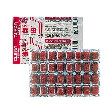クリーン赤虫 100g 1枚 冷凍飼料 キョーリン エサ スリーステップ殺菌・ビタミン含有冷凍フード