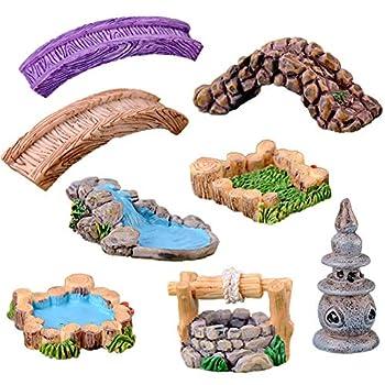 8 Pcs Mini Lighthouse Water Well Bridge Figurines Miniature Gardening Pool Lawn Running Water Terrarium Stone Bridge Figurine Micro Landscape Indoors Outdoors Decorative Accessory