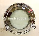 Maritime Silver - Ojo de buey redondo para ventana de cristal náutico para barco, decoración del hogar