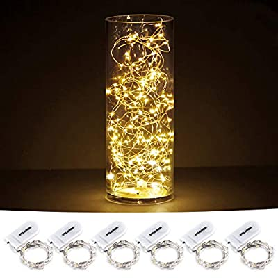CYLAPEX 6 Pack Fairy Lights Battery Operated String Lights, 20 LED on 3.3ft Silvery Copper Wire, Firefly Fairy String Lights Warm White for Wedding Party Mason Jar Christmas Decorations Bedroom Decor