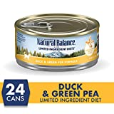 Natural Balance L.I.D. Limited Ingredient Diets Wet Cat Food, Duck & Green Pea Formula, 5.5 Ounce Can (Pack of 24), Grain Free