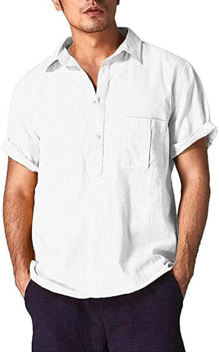 Men's Summer Shirt Casual Linen Lapel Beach Beach Vacation Fashion Travel Loose Short Sleeve Shirt POLO Shirt