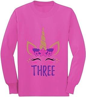 Gift for 3 Year Old Girl Unicorn 3rd Birthday Toddler/Kids Long Sleeve T-Shirt