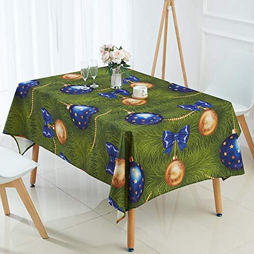 XXDD Mantel navideño Animal Alce Campanas muñeco de Nieve árbol Impreso Mantel Restaurante exótico Estilo rústico decoración A14 135x135cm