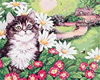 NC56 A DIYデジタルペインティング大人の初心者の子供に3つのブラシペイント大人のオイルペインティングキャンバスキットクリスマスハロウィーンデコレーション猫の花-40x50cm