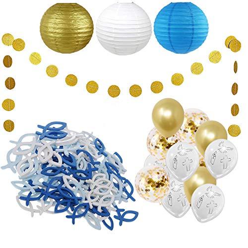 SicurezzaPrima Set de decoración para bautizo XXL, 74 piezas, para comunión, confirmación, globos, farolillos, peces de madera, guirnaldas, decoración - blanco, oro, azul