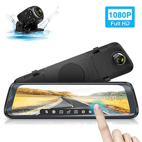 """Rückfahrkamera, WiMiUS M10 Rückspiegel Kamera 10"""" Touchscreen Dual Autokamera vorne hinten Dashcam, 1080P FHD, 170° Weitwinkel mit Parküberwachung, Loop-Aufnahme, G-Sensor, WDR, Nachtsicht, IP65"""