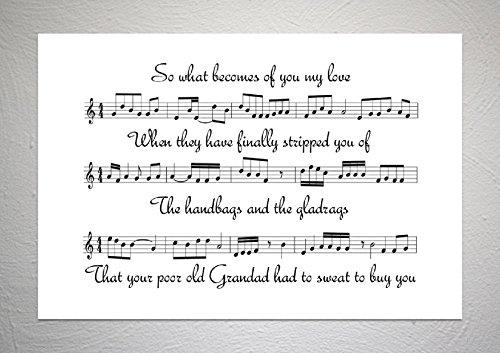 Stereophonics - Handtassen & Gladrags - Song Sheet Art Print - A4 formaat
