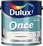 Dulux Once Satinwood Paint For Wood And Metal - Pure Brilliant White 2.5L