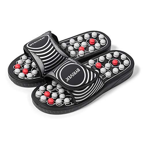 BYRIVER Reflexzonenmassage Tool, Akupressur Matte Hausschuhe Schuhe Sandalen, Linderung von Fußspannungen und Schmerzen im unteren Rückenbereich (02M)