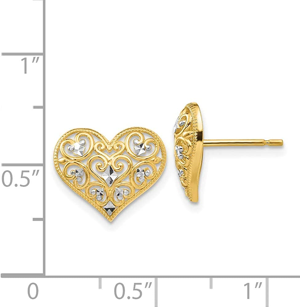 14k Yellow Gold Heart Post Stud Earrings Ball Button Love Fine Jewelry For Women Gifts For Her