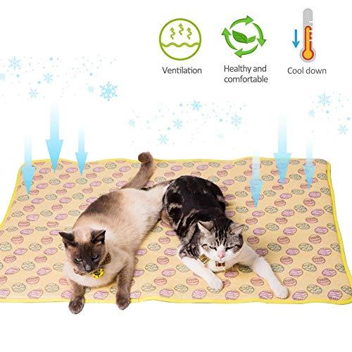 Fancyland Koelmat voor zomerdieren, verkoelend kussen voor huisdieren, zomerpad cool voor de zomer, van zijde en ijsblokjes, Yellow-L, Blauw